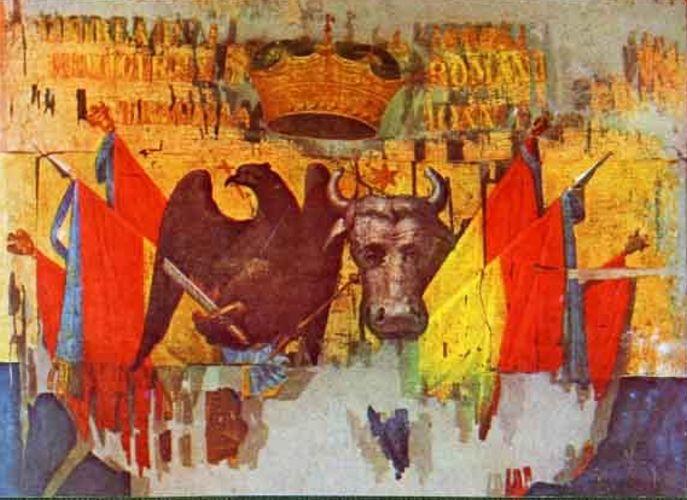 Drapel; Steag domnesc din timpul lui Alexandru Ioan Cuza - Muzeul Naţional de Istorie a României - BUCUREŞTI (Patrimoniul Cultural National Mobil din Romania. Ordin de clasare: 2511/28.01.2003 - Tezaur)