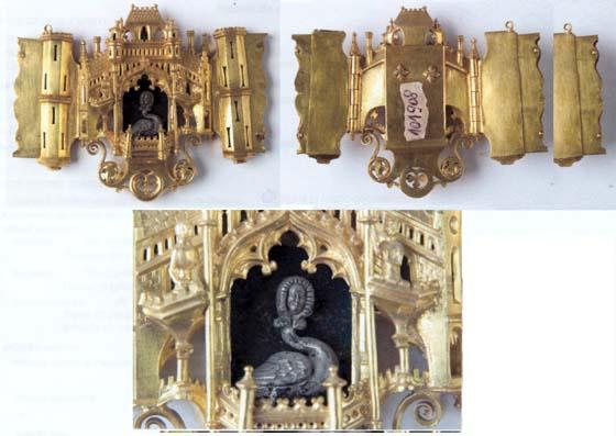 Pafta în formă de castel medieval - Muzeul Naţional de Istorie a României - BUCUREŞTI (Patrimoniul Cultural National Mobil din Romania. Ordin de clasare: 2021/19.01.2006 - Tezaur)