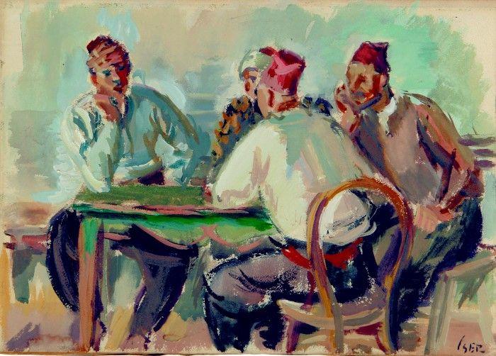 Pictură de şevalet - Iser, Iosif; Turci la cafenea - Colecţii particulare (Patrimoniul Cultural National Mobil din Romania. Ordin de clasare: 2303/27.04.2016 - Fond)