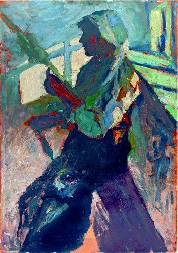 Pictură de şevalet - Schweitzer-Cumpăna, Rudolf; Ţărancă torcând - Colecţii particulare (Patrimoniul Cultural National Mobil din Romania. Ordin de clasare: 2303/27.04.2016 - Fond)