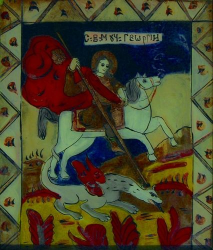 icoană - Prodan, Maria; Sfântul Mucenic Gheorghe - Muzeul Naţional al Unirii - ALBA IULIA (Patrimoniul Cultural National Mobil din Romania. Ordin de clasare: 2119/04.03.2011 - Fond)