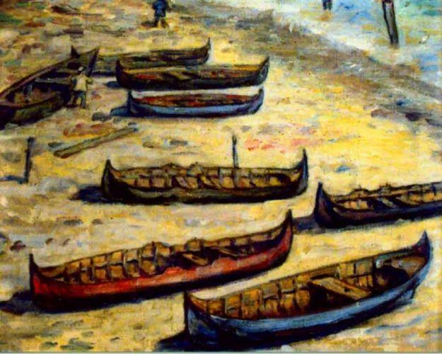Pictură - Bunescu, Marius; Bărci - Muzeul Judeţean Argeş - PITEŞTI (Patrimoniul Cultural National Mobil din Romania. Ordin de clasare: 2472/09.08.2007 - Fond)