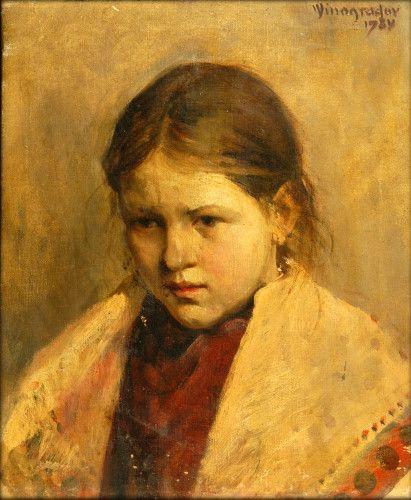 Pictură - Vinogradov, Serghei Arsenievich; Portret de fată - Muzeul Ţării Crişurilor - ORADEA (Patrimoniul Cultural National Mobil din Romania. Ordin de clasare: 2157/13.03.2015 - Fond)