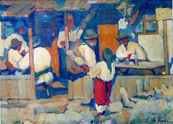Pictură - Băeşu, Aurel; Şezătoare - Muzeul de Artă Vizuală - GALAŢI (Patrimoniul Cultural National Mobil din Romania. Ordin de clasare: 2411/14.09.2004 - Tezaur)