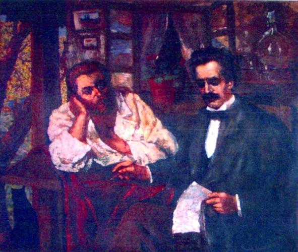 pictură - Băncilă, Octav; Eminescu şi Creangă - Muzeul Literaturii Române - IAŞI (Patrimoniul Cultural National Mobil din Romania. Ordin de clasare: 2172/14.04.2010 - Fond)
