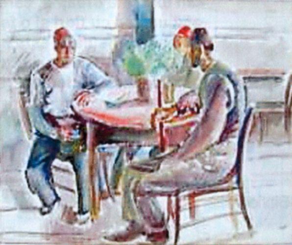 Pictură - Iser, Iosif; Turci la cafenea - Muzeul de Artă - TULCEA (Patrimoniul Cultural National Mobil din Romania. Ordin de clasare: 2216/02.06.2009 - Fond)