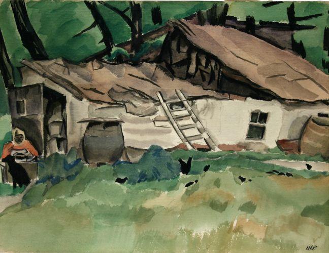 Pictură - Iser, Iosif; Case tătăreşti (Compoziţie cu case) - Muzeul de Artă - TULCEA (Patrimoniul Cultural National Mobil din Romania. Ordin de clasare: 2466/03.11.2009 - Fond)