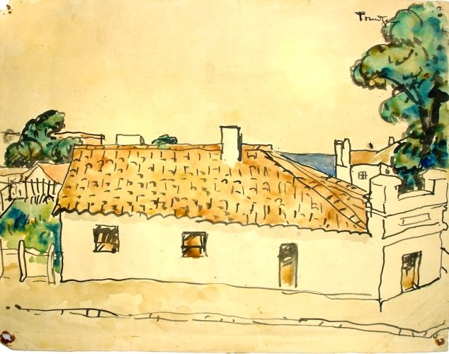 Pictură - Tonitza, Nicolae; Peisaj dobrogean (Peisaj cu case) - Muzeul de Artă - TULCEA (Patrimoniul Cultural National Mobil din Romania. Ordin de clasare: 2466/03.11.2009 - Fond)