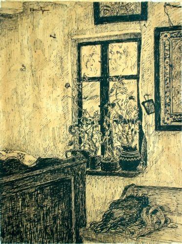Desen - Tonitza, Nicolae; Interior ţărănesc (Obiecte şi flori) - Muzeul de Artă - TULCEA (Patrimoniul Cultural National Mobil din Romania. Ordin de clasare: 2466/03.11.2009 - Fond)