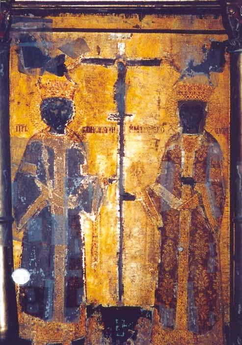 Icoană - Preda şi Marin; Sfinţii Împăraţi Constantin şi Elena - Mănăstirea Hurezi - HOREZU (Patrimoniul Cultural National Mobil din Romania. Ordin de clasare: 2364/11.08.2004 - Tezaur)