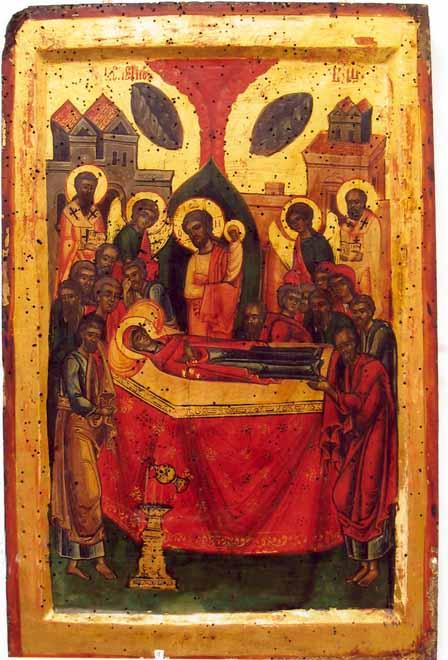icoană; Adormirea Maicii Domnului - Colecţia muzeală a Mănăstirii Hurezi - ROMANII DE JOS (Patrimoniul Cultural National Mobil din Romania. Ordin de clasare: 2365/11.08.2004 - Tezaur)