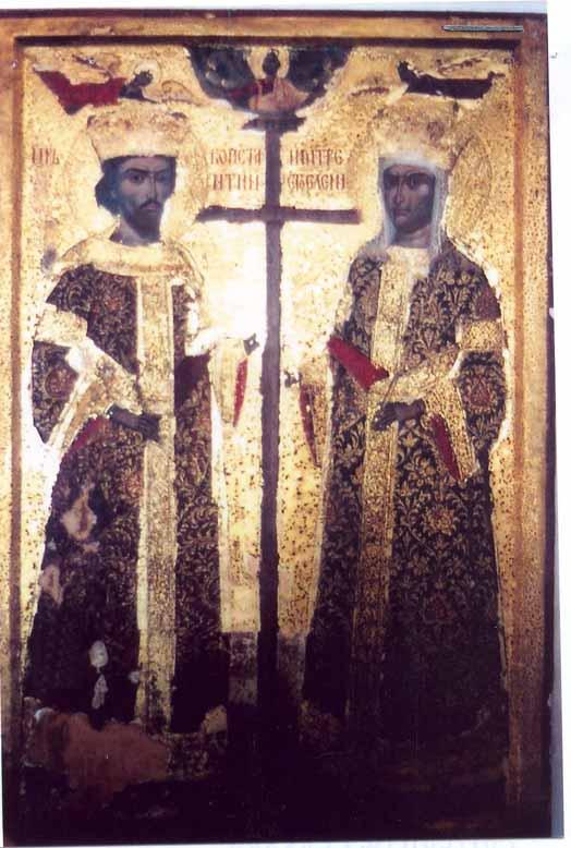 icoanăSfinţii Împăraţi Constantin şi Elena - Colecţia muzeală a Mănăstirii Hurezi - ROMANII DE JOS (Patrimoniul Cultural National Mobil din Romania. Ordin de clasare: 2365/11.08.2004 - Tezaur)