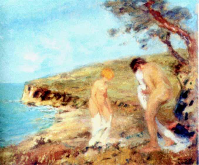 Pictură - Loghi, Kimon; Femei la scăldat - Muzeul de Artă - CONSTANŢA (Patrimoniul Cultural National Mobil din Romania. Ordin de clasare: 2317/03.07.2004 - Tezaur)