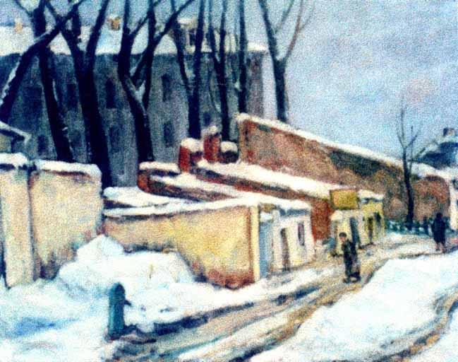Pictură - Bunescu, Marius; Peisaj de iarnă (Curte în Calea Victoriei) - Muzeul de Artă - CONSTANŢA (Patrimoniul Cultural National Mobil din Romania. Ordin de clasare: 2317/03.07.2004 - Tezaur)