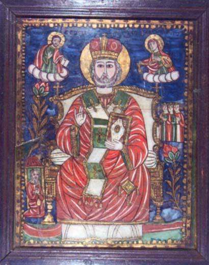 icoană - Moga, Savu; Sfântul Nicolae - Colecţii particulare - VRANCEA (Patrimoniul Cultural National Mobil din Romania. Ordin de clasare: 2004/04.01.2006 - Tezaur)