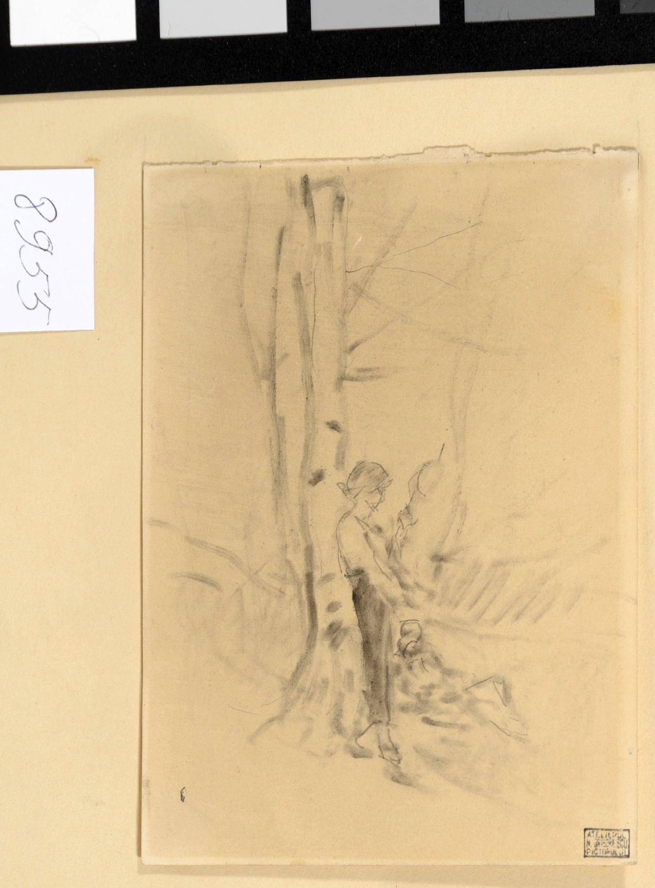 Desen - Grigorescu, Nicolae; Femeie torcând - Muzeul Naţional de Artă al României - BUCUREŞTI (Patrimoniul Cultural National Mobil din Romania. Ordin de clasare: 3933/21.11.2016 - Fond)