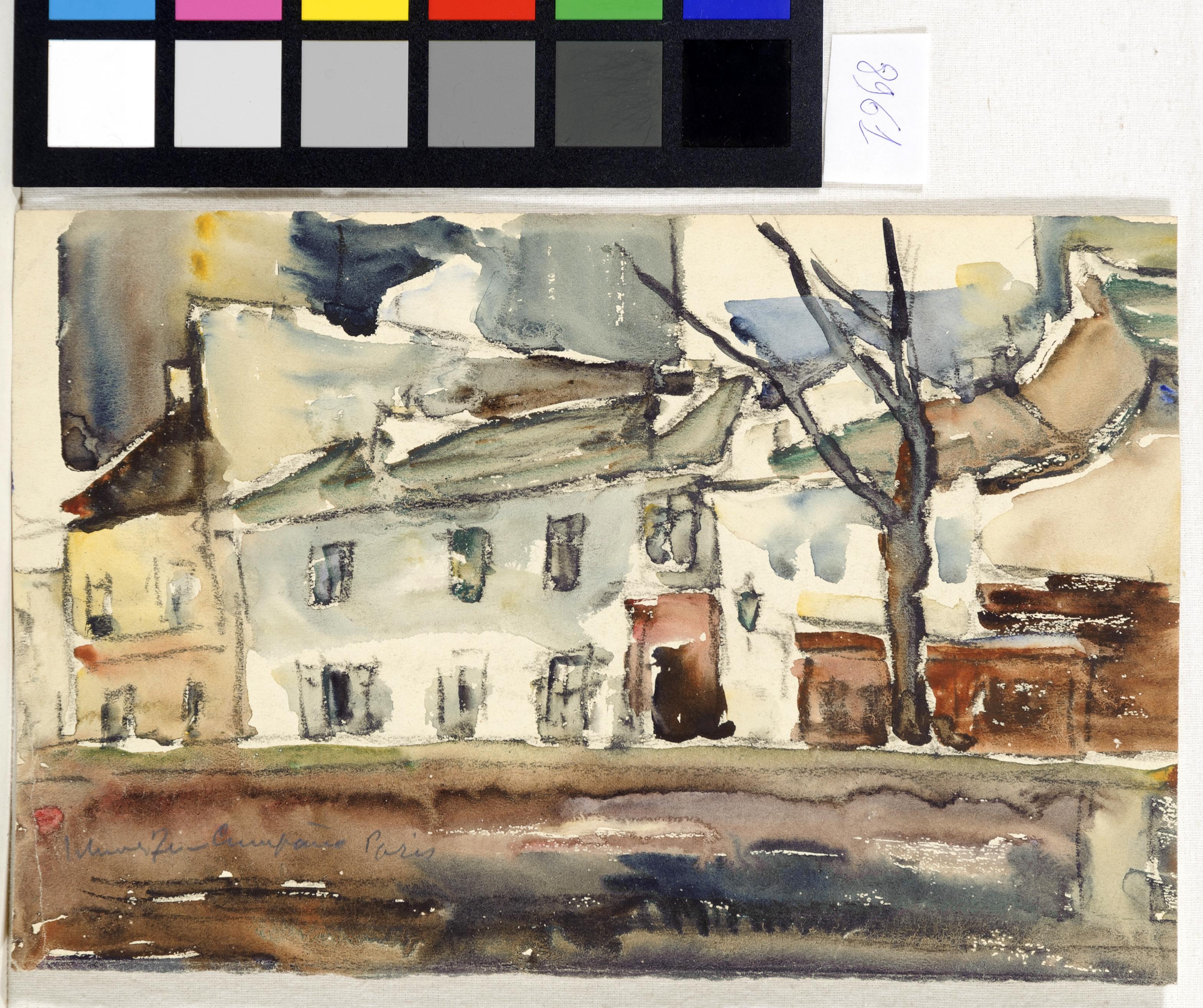 Acuarelă - Schweitzer-Cumpăna, Rudolf; Vedere din Paris - Muzeul Naţional de Artă al României - BUCUREŞTI (Patrimoniul Cultural National Mobil din Romania. Ordin de clasare: 3933/21.11.2016 - Fond)