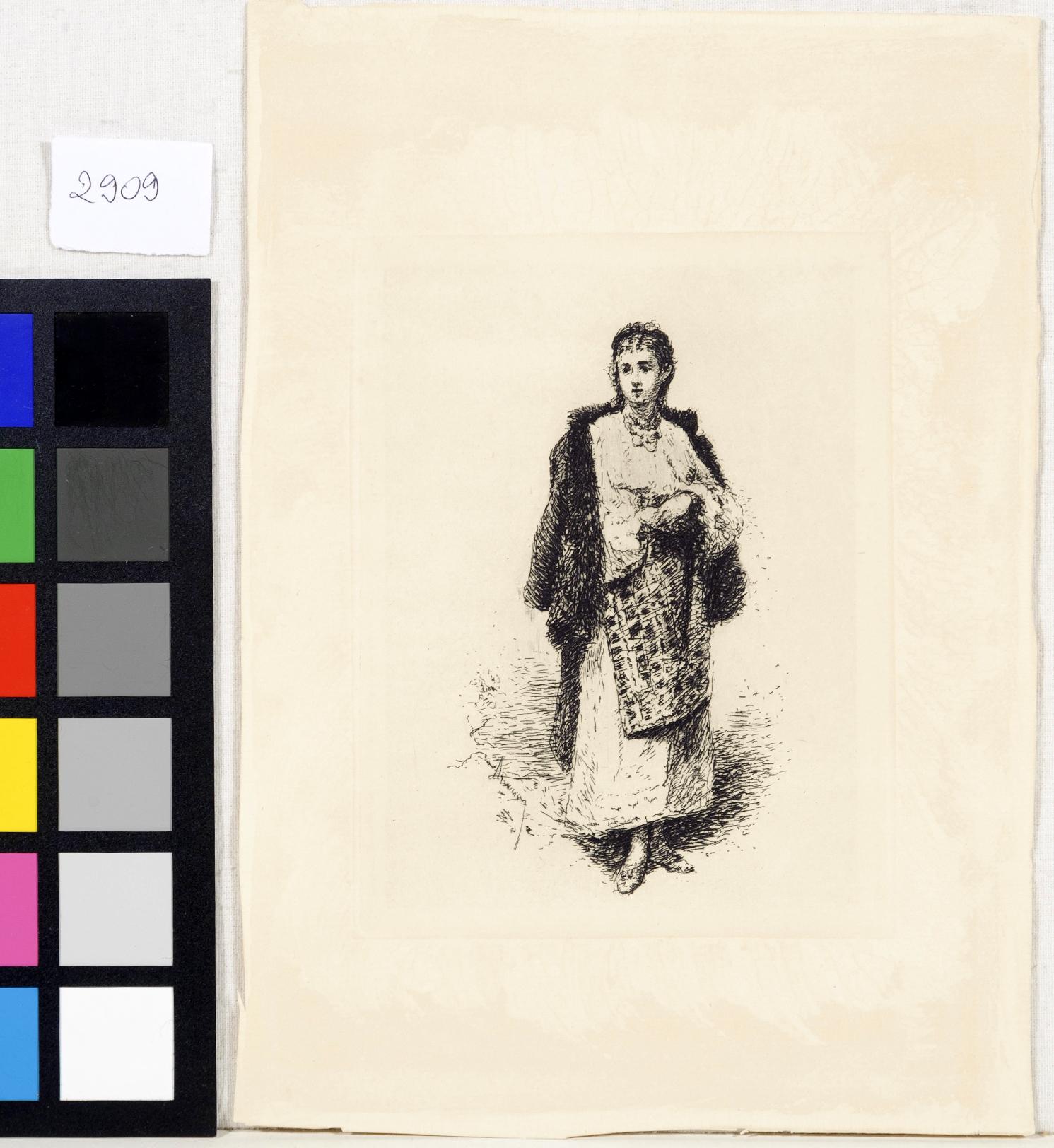 Gravură - Aman, Theodor; Ţăranca - Muzeul Naţional de Artă al României - BUCUREŞTI (Patrimoniul Cultural National Mobil din Romania. Ordin de clasare: 3933/21.11.2016 - Fond)