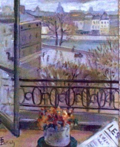 pictură - Pallady, TheodorFlori la fereastră. Place Dauphine - Muzeul Naţional de Artă al României - BUCUREŞTI (Patrimoniul Cultural National Mobil din Romania. Ordin de clasare: 2821/10.10.2003 - Tezaur)