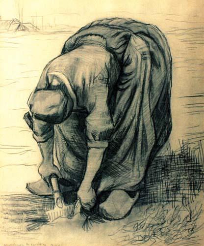 Grafică - Gogh, Vincent van; Culegătoarea de morcovi - Muzeul Naţional de Artă al României - BUCUREŞTI (Patrimoniul Cultural National Mobil din Romania. Ordin de clasare: 2117/26.04.2005 - Tezaur)