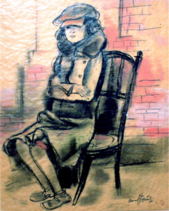 desen - Jiquidi, Aurel; Fetiţă şezând