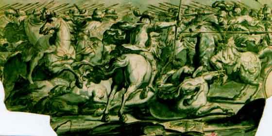desen - Tempesta, Antonio; Confruntare între cavalerii creştini şi turci