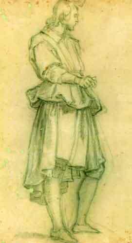 desen - Empoli, Jacopo di Chimenti da; Studiu de bărbat, în picioare, văzut din profil