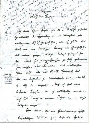 Document - Eminescu, Mihai; Scrisoare - Muzeul Naţional al Literaturii Române - BUCUREŞTI (Patrimoniul Cultural National Mobil din Romania. Ordin de clasare: 2227/02.06.2009 - Tezaur)