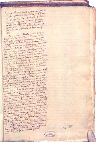 Manuscris; Codex Theresianus - Biblioteca Naţională a României, Filiala Batthyaneum - ALBA IULIA (Patrimoniul Cultural National Mobil din Romania. Ordin de clasare: 2513/15.12.2009 - Tezaur)