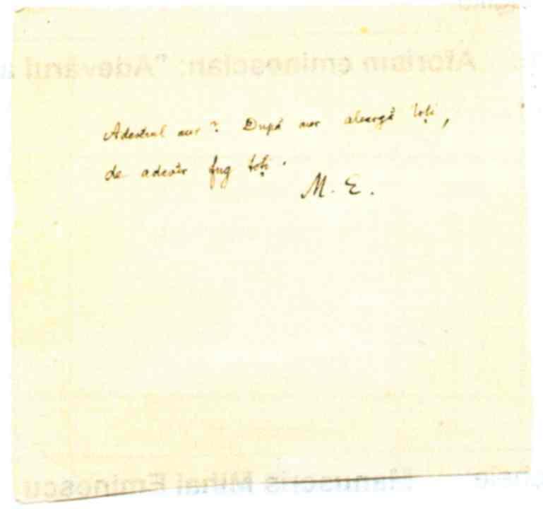 """document - Eminescu, Mihaimanuscris - Memorialul Ipoteşti - Centrul Naţional de Studii """"Mihai Eminescu"""" - BOTOŞANI (Patrimoniul Cultural National Mobil din Romania. Ordin de clasare: 2454/17.07.2008 - Tezaur)"""