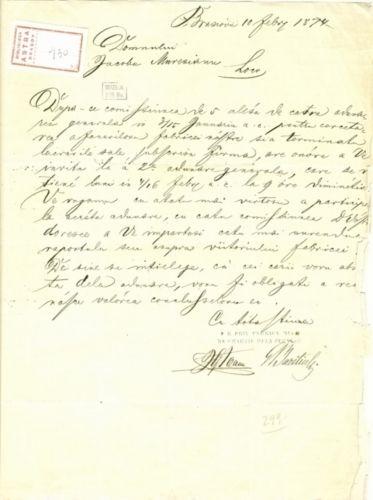 document - Bariţiu, George; Bariţiu George către Mureşianu Iacob