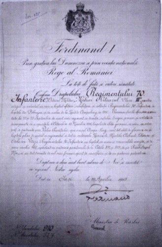 Document; Brevet de decorare cu Ordinul Mihai Viteazul cls III-a - Muzeul Naţional de Istorie a României - BUCUREŞTI (Patrimoniul Cultural National Mobil din Romania. Ordin de clasare: 2050/14.01.2013 - Fond)