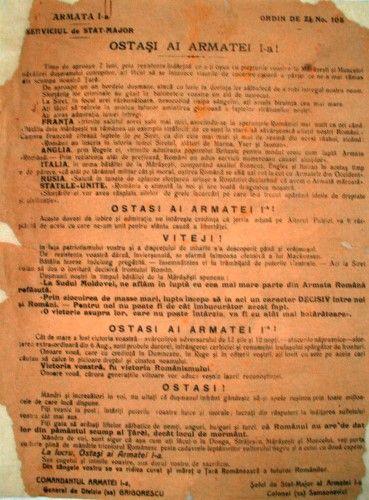 Document - Serviciul de Stat-Major al Armatei I; Ordin de zi nr. 105, 1917 - Muzeul Naţional de Istorie a României - BUCUREŞTI (Patrimoniul Cultural National Mobil din Romania. Ordin de clasare: 2745/12.12.2013 - Fond)