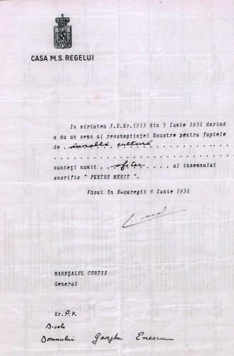 """Casa M. S. Regelui; Brevet semnat de regele Carol al II-lea prin care George Enescu este numit Ofiţer al însemnului onorific """"Pentru Merit"""" - Muzeul Naţional """"George Enescu"""" (Patrimoniul Cultural National Mobil din Romania. Ordin de clasare: 2850/31.12.2015 - Fond)"""