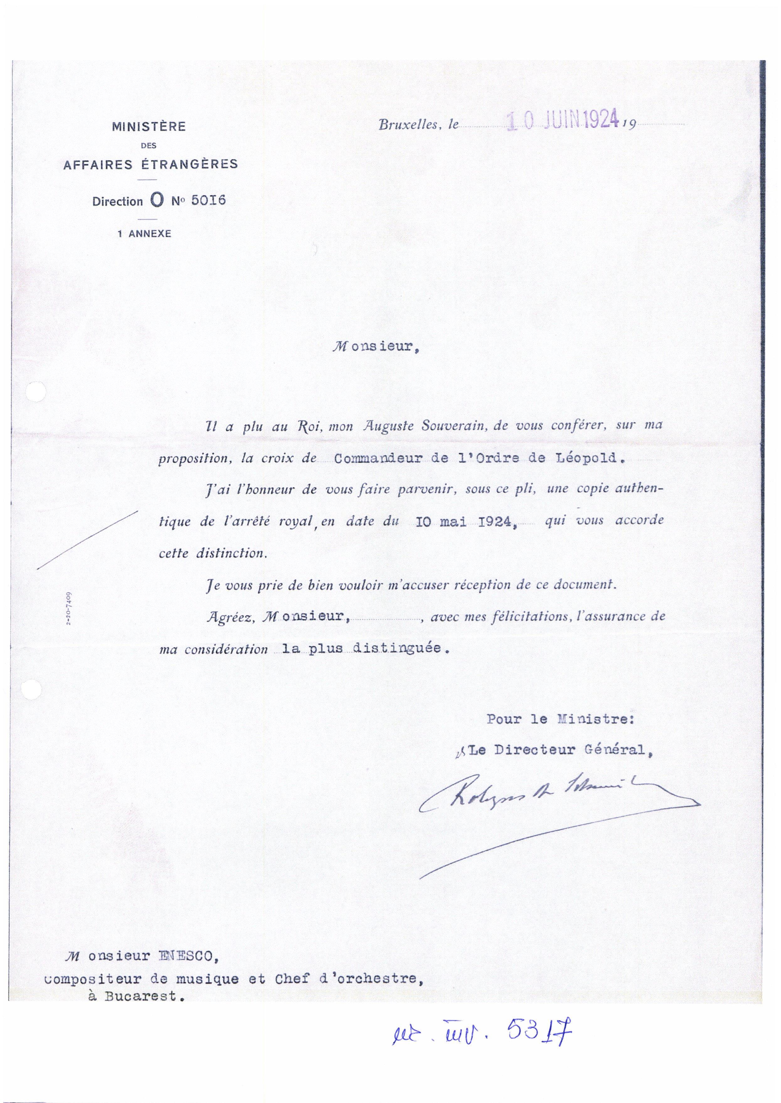 """Scrisoare oficială - Ministerul Afacerilor Externe din Belgia; Scrisoare trimisă de Ministerul Afacerilor Externe din Belgia lui George Enescu, căruia i-a fost expediată o copie autentică a Decretului Regal din 10 mai 1924 de conferire a  distincţiei """"Crucea de Commandor al Ordinului Leopold al Belgiei"""" - Muzeul Naţional """"George Enescu"""" - BUCUREŞTI (Patrimoniul Cultural National Mobil din Romania. Ordin de clasare: 2084/15.02.2018 - Fond)"""
