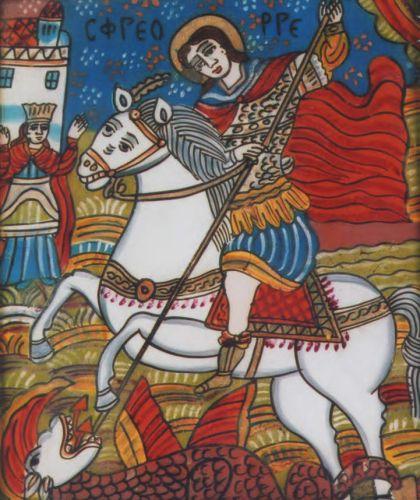 Icoană; Sfântul Gheorghe - Muzeul Naţional Bran - BRAŞOV (Patrimoniul Cultural National Mobil din Romania. Ordin de clasare: 2783/19.12.2011 - Fond)