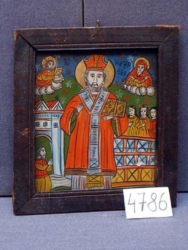 Icoană; Sfântul Nicolae - Muzeul Judeţean Mureş. Secţia de Etnografie şi Artă Populară - TÂRGU MUREŞ (Patrimoniul Cultural National Mobil din Romania. Ordin de clasare: 2271/17.05.2007 - Fond)