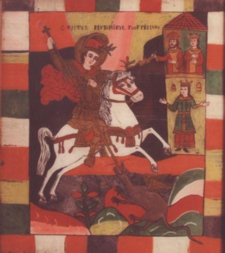 icoană - Matei Purcărea (Ţimforea); Sfântul Mare Mucenic Gheorghe - Muzeul Etnografic al Transilvaniei - CLUJ-NAPOCA (Patrimoniul Cultural National Mobil din Romania. Ordin de clasare: 2665/12.11.2010 - Tezaur)