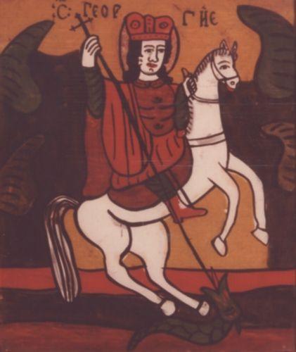 icoanăSfântul Mare Mucenic Gheorghe - Muzeul Etnografic al Transilvaniei - CLUJ-NAPOCA (Patrimoniul Cultural National Mobil din Romania. Ordin de clasare: 2665/12.11.2010 - Tezaur)