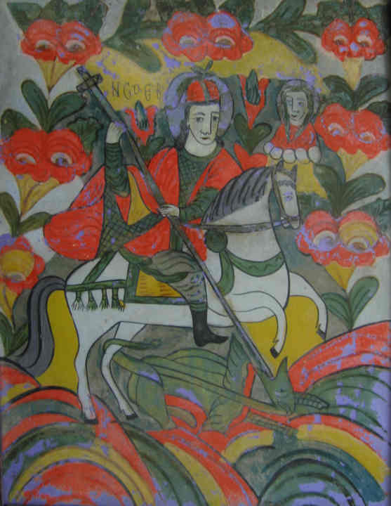 icoanăSfântul Gheorghe - Muzeul Maramureşului - SIGHETU MARMAŢIEI (Patrimoniul Cultural National Mobil din Romania. Ordin de clasare: 2159/17.03.2008 - Tezaur)