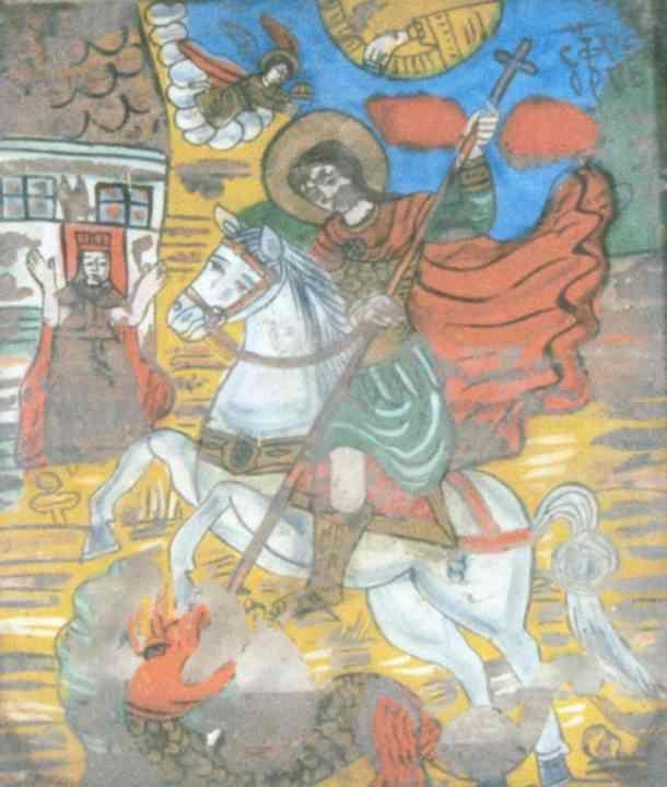 IcoanăSfântul Gheorghe - Muzeul Naţional de Artă al României - BUCUREŞTI (Patrimoniul Cultural National Mobil din Romania. Ordin de clasare: 2557/12.09.2008 - Fond)