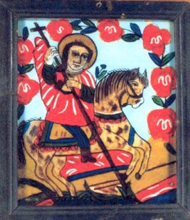"""Icoană; Sfântul Gheorghe - Muzeul Naţional al Satului """"Dimitrie Gusti"""" - BUCUREŞTI (Patrimoniul Cultural National Mobil din Romania. Ordin de clasare: 2436/04.10.2004 - Tezaur)"""