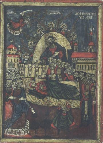 icoană; Adormirea Maicii Domnului - Muzeul Naţional al Ţăranului Român - BUCUREŞTI (Patrimoniul Cultural National Mobil din Romania. Ordin de clasare: 2764/29.12.2010 - Tezaur)