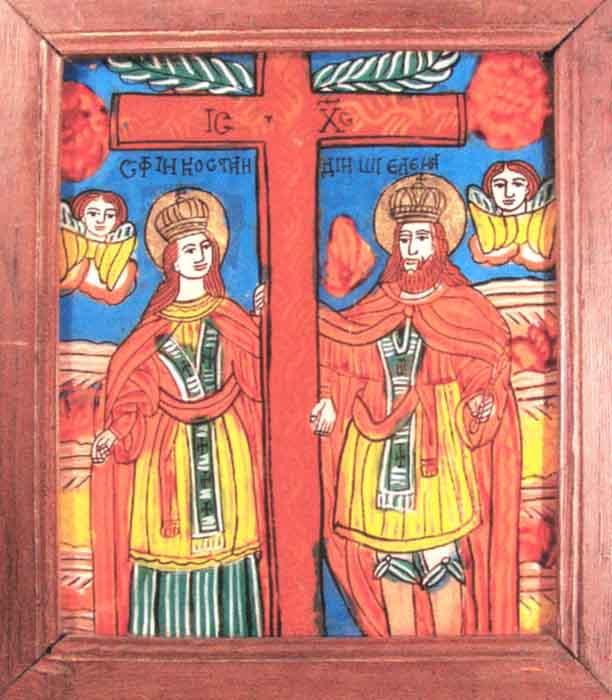 Icoană; Sfinţii Împăraţi Constantin şi Elena - Muzeul Naţional al Ţăranului Român - BUCUREŞTI (Patrimoniul Cultural National Mobil din Romania. Ordin de clasare: 2602/07.04.2003 - Fond)