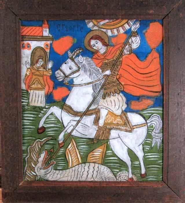 icoanăSfântul Gheorghe - Muzeul Naţional al Ţăranului Român - BUCUREŞTI (Patrimoniul Cultural National Mobil din Romania. Ordin de clasare: 2601/07.04.2003 - Tezaur)