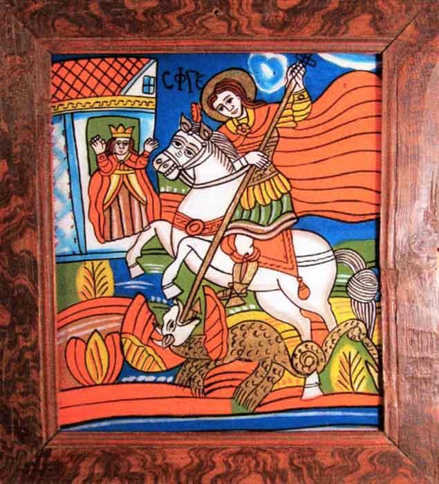 Icoană; Sfântul Gheorghe - Muzeul Naţional al Ţăranului Român - BUCUREŞTI (Patrimoniul Cultural National Mobil din Romania. Ordin de clasare: 2601/07.04.2003 - Tezaur)