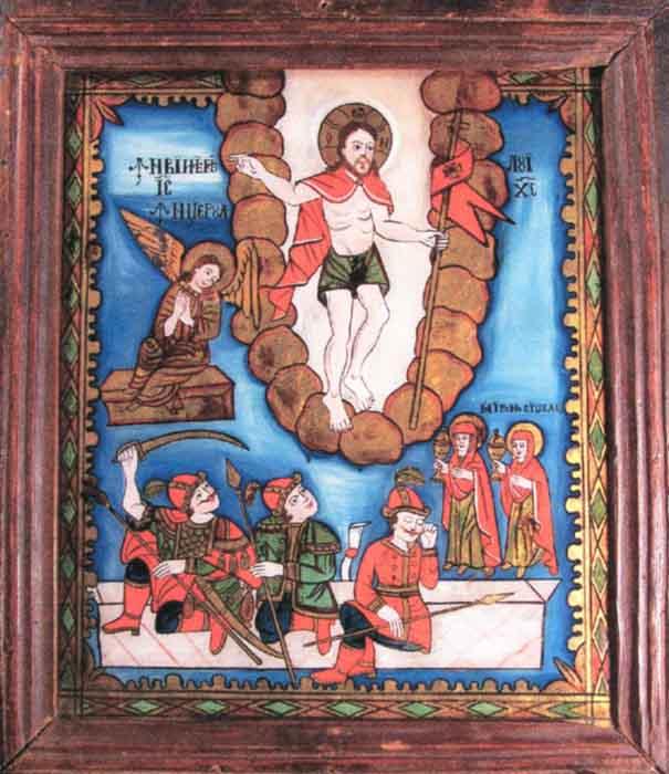 Icoană - Moga, Savu; Învierea lui Iisus - Muzeul Naţional al Ţăranului Român - BUCUREŞTI (Patrimoniul Cultural National Mobil din Romania. Ordin de clasare: 2601/07.04.2003 - Tezaur)