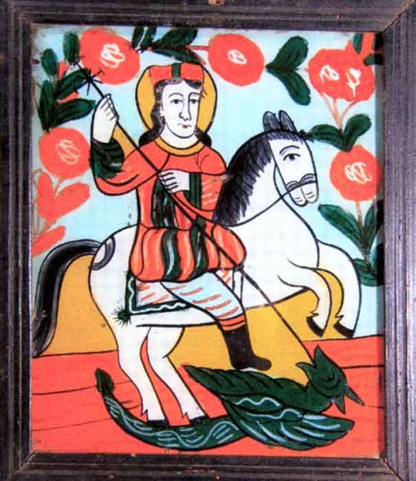 icoanăSfântul Gheorghe - Muzeul Naţional al Ţăranului Român - BUCUREŞTI (Patrimoniul Cultural National Mobil din Romania. Ordin de clasare: 2602/07.04.2003 - Fond)