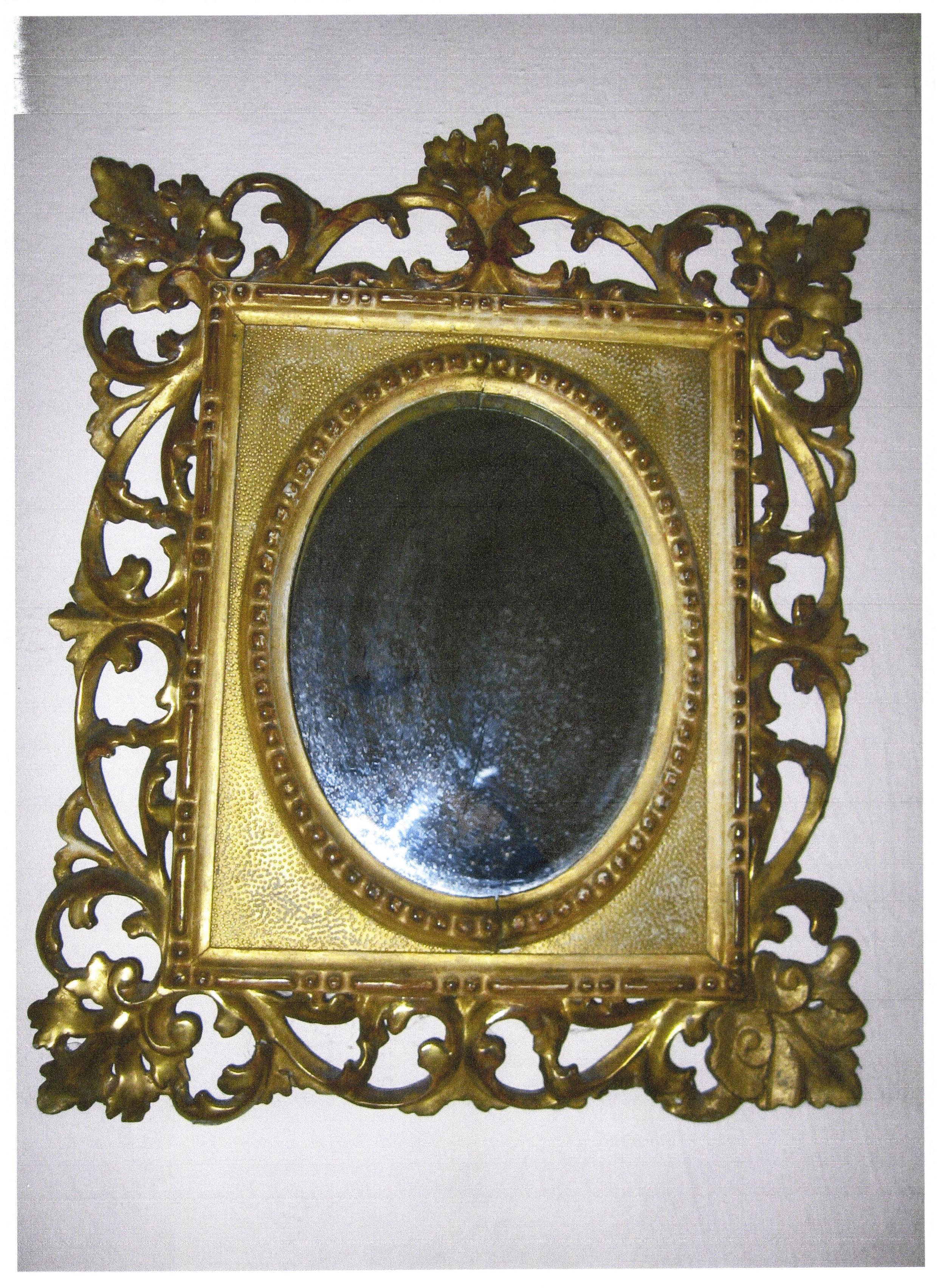 """Oglindă ovală de perete - Casa Memorială """"Rosetti Tescanu - George Enescu"""" - TESCANI (Patrimoniul Cultural National Mobil din Romania. Ordin de clasare: 2271/27.04.2015 - Fond)"""
