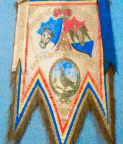 Drapel; Steag al Unirii (1859) trimis pentru districtul Muscel - Muzeul Municipal Câmpulung - CÂMPULUNG (Patrimoniul Cultural National Mobil din Romania. Ordin de clasare: 2232/02.06.2009 - Tezaur)